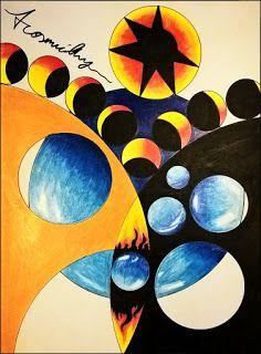 Kevin Mühlfort: A Cosmic Day  Aquarell, Buntstift und Copic auf Papier. 2017  Das kosmische Zusammenspiel von Hell und Dunkel, Form und Funktion, Zeit, Erschaffung und Verfall.