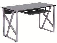 Flash Furniture Computer Desk with Pull-Out Keyboard Tray, Black. Clearance from Keyboard Tray to Desk Surface. Metal Computer Desk, Desk With Keyboard Tray, Small Computer, Office Computer Desk, Home Office Desks, Home Office Furniture, Office Decor, Metal Desks, Work Desk