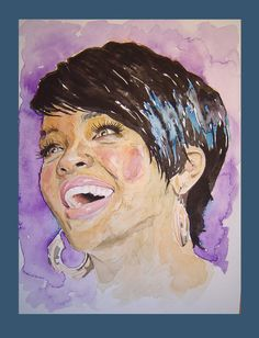Rhianna portrait watercolour portrait original by MBPortraiture, £55.00