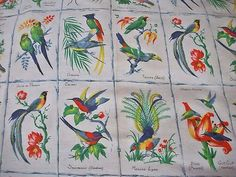 This is the fabric I just got for the curtain under the cupboard to hide the sink plumbing bit.  (Morceau Charming Vintage French Marignan Designer Linen ~Tropical Birds)