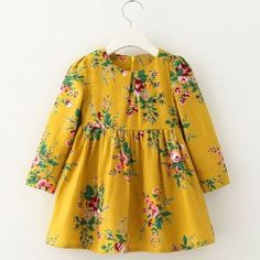 Stylish Long Sleeve Floral Print A-Line Dress For Girl