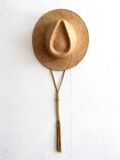 // Ryan Roche Straw Hat with Tassels - Natural