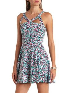 caged cut-out floral print skater dress