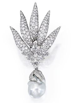 Lot 371 - Platinum and Diamond Brooch With a Cultured Pearl and Diamond Drop, Both By Verdura