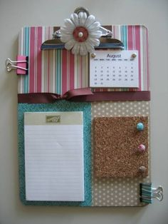 DIY All-in-one clipboard organizer with notepad, tear-away calendar, cork board and push pins. This would be a cute gift for a g