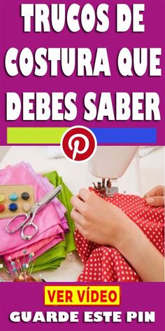 Sewing tricks you should know- Trucos de costura que debes saber Sewing tricks you should know - Sewing Hacks, Sewing Crafts, Sewing Projects, Waterproof Fabric, Crochet Stitches Patterns, Stitch Patterns, Clothing Patterns, Sewing Patterns, Sewing Tips