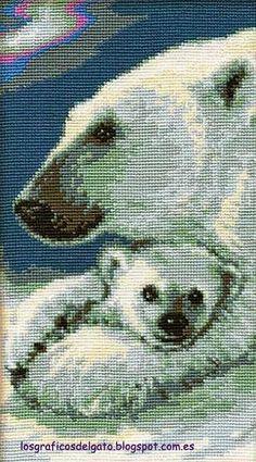 Bonito gráfico de un osito polar y su mamá...