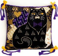 Two Gorgeous Cat Pillows Cross Stitch or Needlepoint DIGITAL PDF E-Book PATTERN