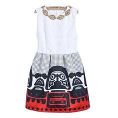 White Sleeveless Bead Plaid Vintage Dress (€23) ❤ liked on Polyvore featuring dresses, sheinside, sheinside.com, sleeveless dress, beaded dress, henley dress, vintage sleeveless dress and white beaded dress