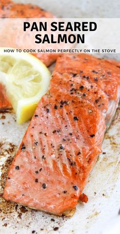 Pan Seared Salmon how to cook salmon cooking basics salmon on stove top how to cook fish quick dinner family dinner Cook Salmon On Stove, Salmon Recipes Stove Top, Pan Cooked Salmon, Salmon Recipe Pan, Pan Fried Salmon, Baked Salmon Recipes, Pan Seared Salmon, Cooking Salmon, Fish Recipes