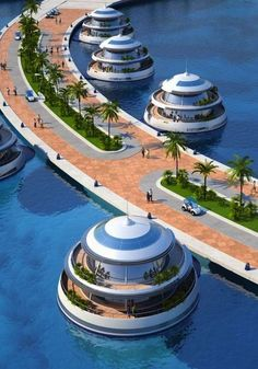 The ambitious Amphibious Floating Resort project at the coast of Qatar will feature 75 luxury suites with private terraces and parts of the resort will be fully submerged under water (when completed). #futuristicarchitecture