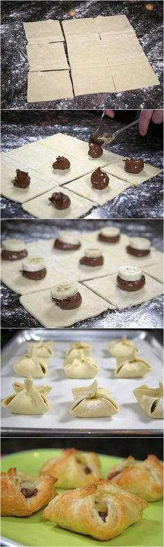 Nutella and Banana Pastry Purses. These are so easy to make and only take a few minutes. 1 sheet frozen puff pastry dough Nutella 1 banana some Just Desserts, Delicious Desserts, Dessert Recipes, Yummy Food, Snacks Recipes, Pastry Recipes, Cooking Recipes, Nutella Recipes, Desserts Nutella
