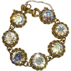 Pre-owned Vintage Vendome Crystal Bracelet ($175) ❤ liked on Polyvore featuring jewelry, bracelets, accessories, fillers, 1960s, link bracelets, vintage jewellery, crystal jewelry, crystal jewellery and vintage jewelry
