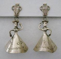 Peruvian Vintage Silver Figural Lady Water Jug Earrings 925 Sterling Silver | eBay