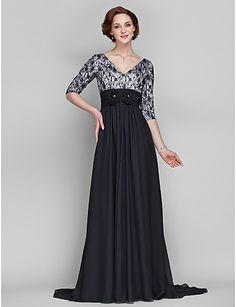 A-line Plus Size / Petite Mother of the Bride Dress Sweep / Brush Train Half Sleeve Chiffon / Lace with Flower(s) / Lace / Ruching 2016 - $94.99