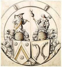 Bees Hive: Medieval art with beehives -   Hieronymous Lang; 1553. Man and woman in bee hive with emblem and fish.
