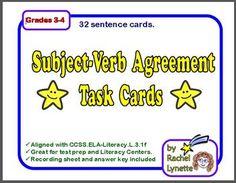Subject-Verb Agreement Task Cards | Rachel Lynette | {3-4}