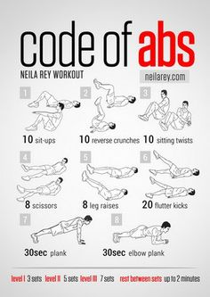 Best workout site ever! Even has a timer for rest period. Code of Abs Workout