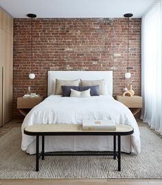 A SoHo loft apartment with exposed brick walls and a neutral color palette with subtle color touches Brick Wall Bedroom, Brick Accent Walls, Accent Wall Bedroom, Brick Wall Decor, Brick Wallpaper Bedroom, Soho Loft, Loft Interior, Brick Interior, Design Interior