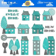Home Sweet Home Digital Clipart for Instant Download. New Home Clipart. Housewarming Clip Art. House warming Clipart. House Digital Clipart....
