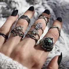✧☆✧ Have you got what it takes to rock this stack? ✧☆✧ shopdixi.com ✧☆✧ #boho #bohemian #grunge #goth #jewelry #jewellery #bohojewels #abalone #witchy #rings
