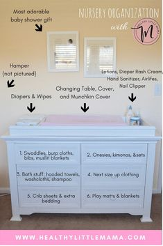 NURSERY ORGANIZATION FOR THE NESTING MOM. Nursery Organization Dresser - Healthy Little Mama. Nursery organization ideas for the nesting mom. How to maximize storage in a small space using your changing table, dresser, and closet shelves Nursery Dresser Organization, Organize Nursery, Organizing Baby Dresser, Organizing Baby Stuff, Nursery Storage, Organize Baby Clothes, Baby Storage, Small Nursery Organization, Baby Clothes Storage