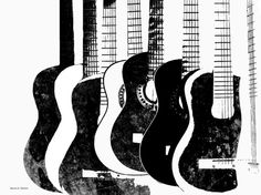 Black and White Guitars Music Art Digital Print by GrayWolfGallery, $25.00                                                 youtube to mp3
