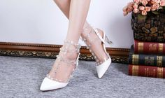Crystal Rivet Leather Pointed Sandals