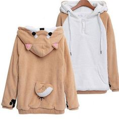 Kawaii Clothing Cute Ropa Hoodie Harajuku Sweatshirt Sudadera Doge Dog Ears Tail - Sweatshirts, Hoodies