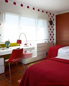 white and red teen room decorations for girls  Decorating A Teen's Bedroom With Her Own Style