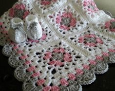 baby girl lacy granny square baby crochet by DonnasPinsandNeedles