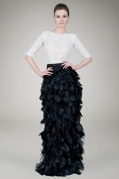 Not this dress but beautiful modest gowns Lace Bateau Gown in Ivory / Black - Evening Gowns - Evening Shop | Tadashi Shoji