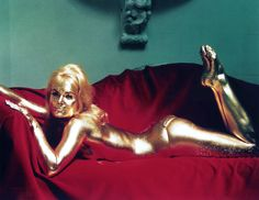"Shirley Eaton, during production of Guy Hamilton's ""Goldfinger"" (1964)"