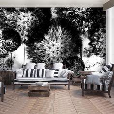 Black And White Interior, White Interior Design, Black And White Wallpaper, Dandelion Wallpaper, White Dandelion, High Quality Wallpapers, Outdoor Furniture Sets, Outdoor Decor, Adhesive