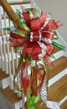 Christmas Tree Topper, Tree Bow, Large Red and Lime Green Christmas Bow, Christmas Bow, Mailbox Christmas BowIf you are good at making bows then you can add festive holiday cheer to many different parts of your home.>>Discover more about tree centerp Mesh Christmas Tree, Grinch Christmas, Christmas Bows, Christmas Tree Toppers, Christmas Holidays, Christmas Ornaments, Small White Christmas Tree, Green Christmas, Tree Topper Bow