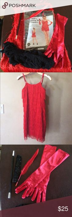 """1920's Flapper costume w/ accessories 😍 Four piece stretch all-around red flapper dress. Includes headpiece, cigarette holder, gloves, fishnet stockings. 27"""" length 16"""" in width. There is some stretch to the fabric it's 97% polyester and 5% spandex great condition. This costume is sure to turn heads 🔥🔥 Non-smoking home. Other"""