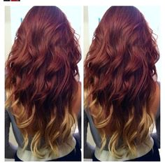 Long auburn & blonde hair.