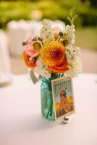 Travel theme wedding reception.