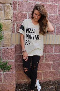 Pizza Ponytails PJs jersey t-shirt - Lush Fashion Lounge