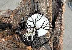 Black Wire Wrapped Tree of Life Pendant with White Moon & Silver Wolf Charm