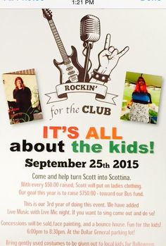 All About the Kids – Scotttina is coming back to Morristown September 25 at the Dollar General food and fun!! Live music and open mic night so come on out and sing !! We are also collecting gently used Halloween costumes for Mandy Carltons costume drive Food items: Pulled Pork sandwiches $2.00 w/chips and Drink $3.00 Hot dogs: $1.00 with drink and chips $2.00 all drinks $1.00 Candy bars...