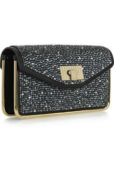 Chloe, sally Swarovski crystal-embellished leather clutch