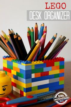 This LEGO desk organizer is a simple way for kids to get more organized with their homework area - simple to make and a fun desk accessory!