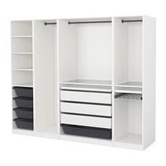 IKEA - PAX, Garderobekast, 250x58x201 cm, , Gratis 10 jaar garantie. Raadpleeg onze folder voor de garantievoorwaarden.Deze kant-en-klare PAX/KOMPLEMENT-oplossing is met de PAX-planner makkelijk aan te passen aan je behoefte en smaak.Wil je de binnenkant op orde houden, dan kan je het geheel completeren met inrichting uit de serie KOMPLEMENT.Met de verstelbare poten kan je oneffenheden in de vloer opvangen.