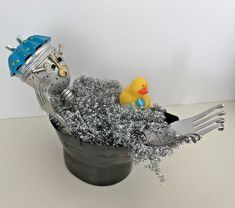 Bathing Judy -- Found Art Robot Assemblage Art Metal Sculpture #Assemblageart