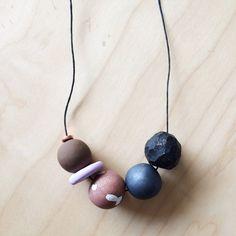 Tessa Handmade polymerclay necklace 5 bead & by onthedotdesign