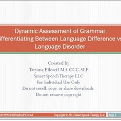 Dynamic Assessment of Grammar  - Pinned by @PediaStaff – Please Visit ht.ly/63sNtfor all our pediatric therapy pins