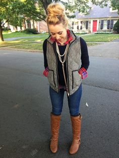 Fall Weather and Layers:  Plaid, Vest, Boots, and Tassels