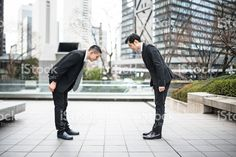 japanese Business greetings together on the downtown royalty-free stock photo