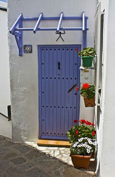 Mojácar, Almeria, Spain ~ this blue-violet Granada Andalucia, Andalusia Spain, Open Door Policy, The Doors Of Perception, Outdoor Doors, When One Door Closes, Unique Doors, Door Knockers, Closed Doors